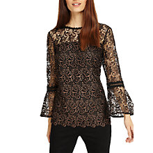 Buy Coast Tianna Metallic Lace Blouse, Black Online at johnlewis.com