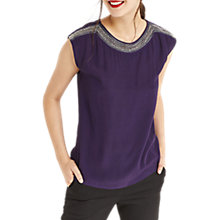 Buy Oasis Embellished Neck T-Shirt, Berry Online at johnlewis.com