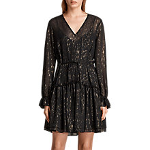 Buy AllSaints Alia Flec Dress, Black/Gold Online at johnlewis.com