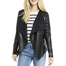 Buy Oasis Faux Leather Waterfall Jacket, Black Online at johnlewis.com