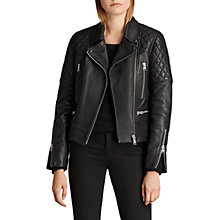 Buy AllSaints Esher Leather Biker Jacket, Black Online at johnlewis.com