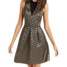 Buy Oasis Deco Jacquard Skater Dress, Black Online at johnlewis.com