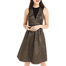 Buy Oasis Deco Jacquard Long Length Midi Dress, Black Online at johnlewis.com