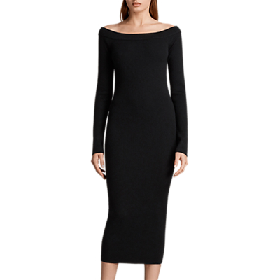 Product photo of Allsaints lavine long sleeve knitted dress black