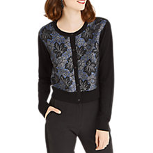 Buy Oasis Jacquard Front Leaf Motif Cardigan, Black Online at johnlewis.com