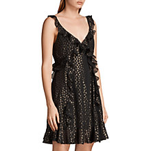 Buy AllSaints Darrell Ruffle Dress, Black/Gold Online at johnlewis.com