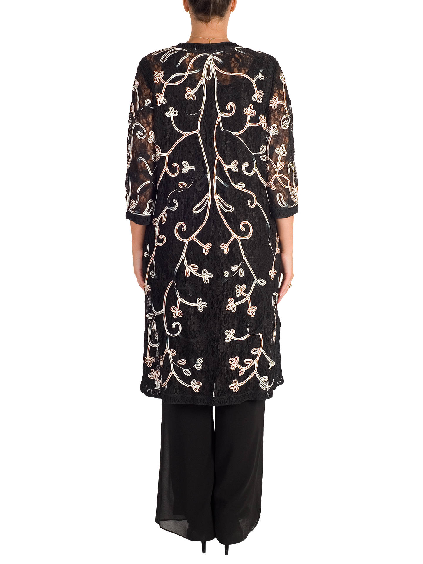 BuyChesca Cornelli Embroidered Lace Coat, Black/Pink, 12-14 Online at johnlewis.com
