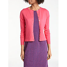 Buy Boden Cashmere Crop Crew Cardigan, Bright Watermelon Online at johnlewis.com