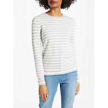 Buy Boden Cashmere Crew Jumper, Grey Melange/Rosebay Stripe Online at johnlewis.com