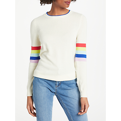 Boden Cashmere Crew Jumper, Ivory Rainbow/Multi Stripe