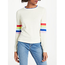 Buy Boden Cashmere Crew Jumper, Ivory Rainbow/Multi Stripe Online at johnlewis.com