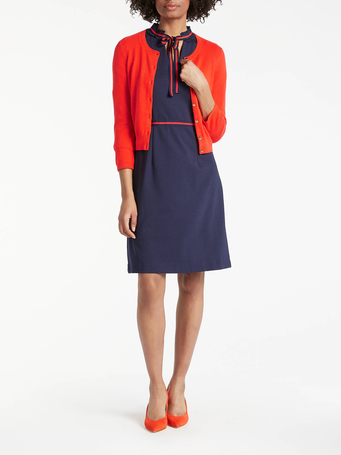 BuyBoden Cashmere Crop Crew Neck Cardigan, Red Pop, XS Online at johnlewis.com