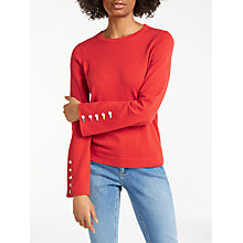 Buy Boden Caprice Wool Blend Button Sleeve Jumper, Red Pop Online at johnlewis.com