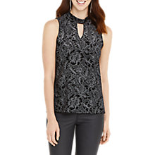 Buy Oasis Lace Glitterball Velvet Top, Multi/Black Online at johnlewis.com