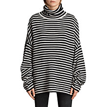 Buy AllSaints Marcel Funnel Neck Jumper, Ink/Ecru White Online at johnlewis.com