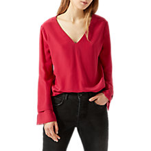 Buy Jigsaw Silk Front Long Sleeve Blouse, Fuschia Online at johnlewis.com
