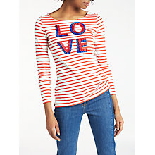 Buy Boden Make A Statement Love Embroidered Breton Top, Frilled Love Online at johnlewis.com