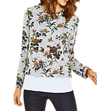 Buy Oasis Floral Print Woven Mix Jumper, Mid Grey/Multi Online at johnlewis.com
