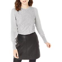Buy Oasis Metallic Lace Floral Knit Top, Pale Grey Online at johnlewis.com