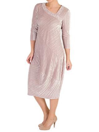 Chesca Pleated Velvet Dress, Oyster