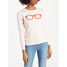 Buy Boden Rafaela Printed Jumper, Pink/Glasses Online at johnlewis.com