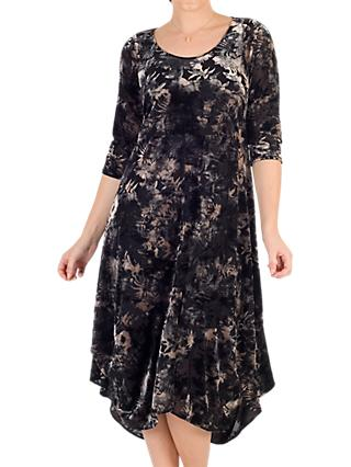 Chesca Velvet Devoree Dress, Black/Oyster