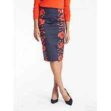 Buy Boden Richmond Poppy Placement Pencil Skirt, Navy/Poppy Online at johnlewis.com