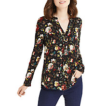 Buy Oasis Rose Print Nehru Collar Shirt, Multi Online at johnlewis.com