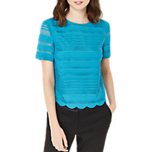 Buy Oasis Grid Stripe Scallop Shell T-Shirt, Turquoise Online at johnlewis.com