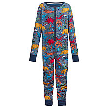 Buy Fat Face Children's Wild Imagination Dinosaur Print Onesie, Blue Online at johnlewis.com