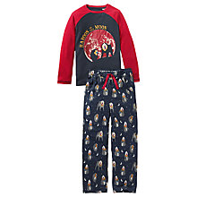 Buy Fat Face Children's Baboon Jersey Pyjamas, Navy Online at johnlewis.com