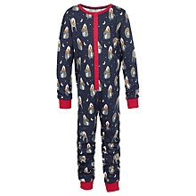 Buy Fat Face Children's Baboon Jersey Onesie, Navy Online at johnlewis.com