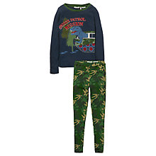 Buy Fat Face Children's Snooze Patrol Dinosaur Print Pyjamas, Navy/Green Online at johnlewis.com