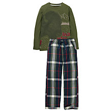 Buy Fat Face Children's Bison Check Print Pyjamas, Green Online at johnlewis.com