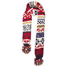 Buy Fat Face Children's Ski Fair Isle Scarf, Red/Ecru Online at johnlewis.com