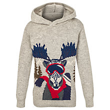 Buy Fat Face Boys' Moose Hooded Jumper, Grey Online at johnlewis.com