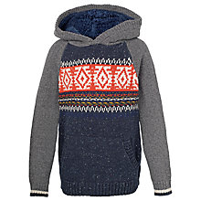 Buy Fat Face Boys' Nordic Hooded Jumper, Navy Online at johnlewis.com