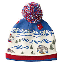 Buy Fat Face Children's Yeti Scene Beanie Hat, Blue/Red Online at johnlewis.com