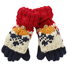 Buy Fat Face Children's Ski Fair Isle Mittens, Red/Ecru Online at johnlewis.com
