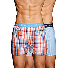 Buy Gant Check Stripe Boxers, Pack of 2, Pastel Online at johnlewis.com
