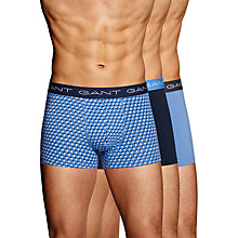 Buy Gant Shadow Dot Solid Trunks, Pack of 3, Blue/Navy Online at johnlewis.com