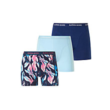 Buy Bjorn Borg Digi Leaf Trunks, Pack of 3, Blue/Pink Online at johnlewis.com