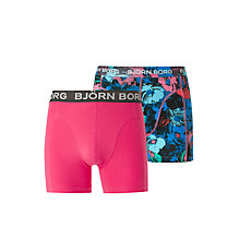 Buy Bjorn Borg Flower Shades Trunks, Pack of 2, Pink/Blue Online at johnlewis.com