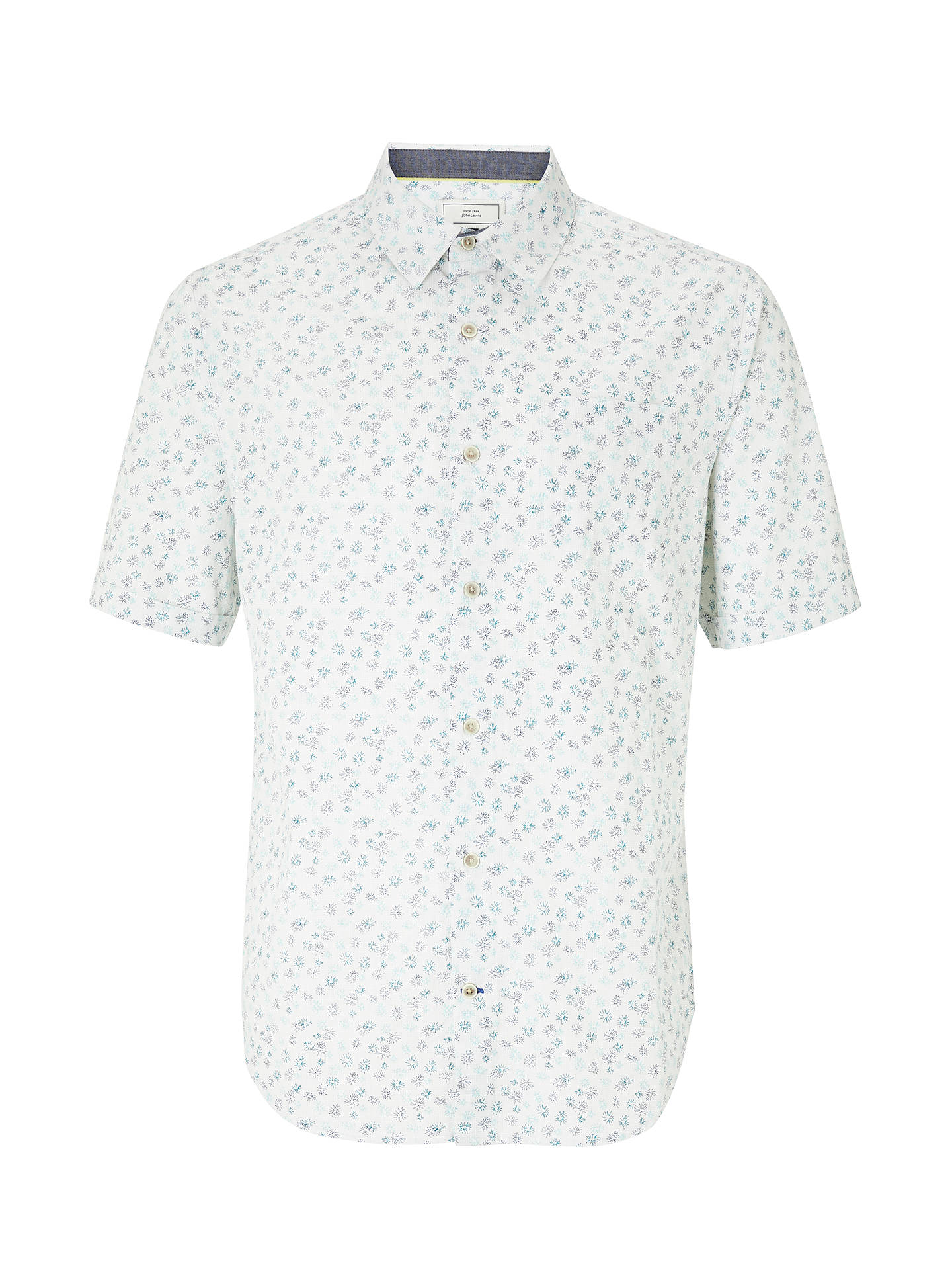 Buy John Lewis & Partners Orchid Print Short Sleeve Shirt, White, S Online at johnlewis.com