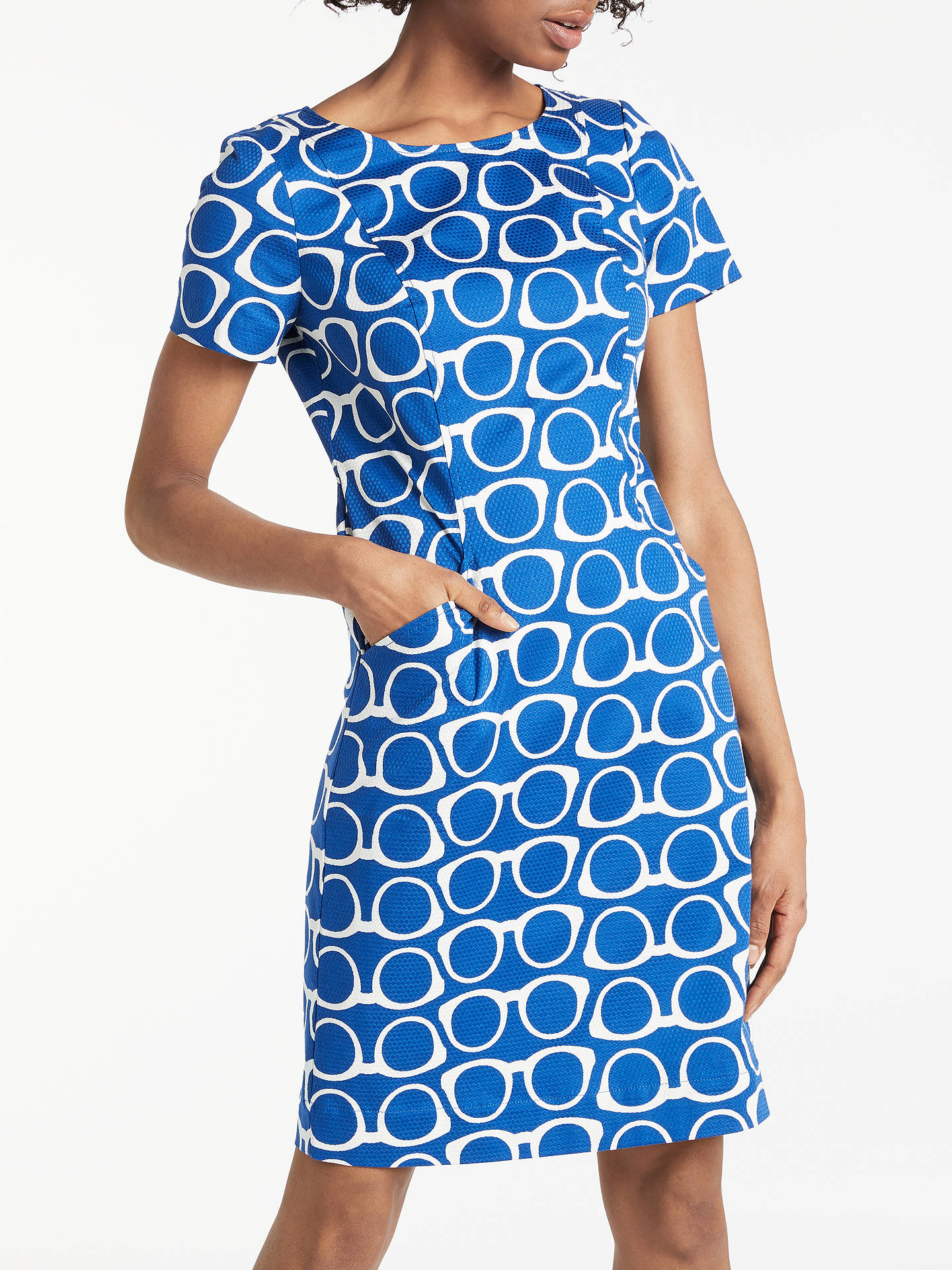 choose original popular stores premium selection Boden Angela Textured Dress, Riviera Blue/Glasses at John ...
