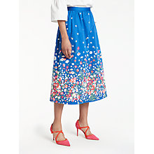 Buy Boden Emelia Midi Skirt, Blue Floral Placement Online at johnlewis.com