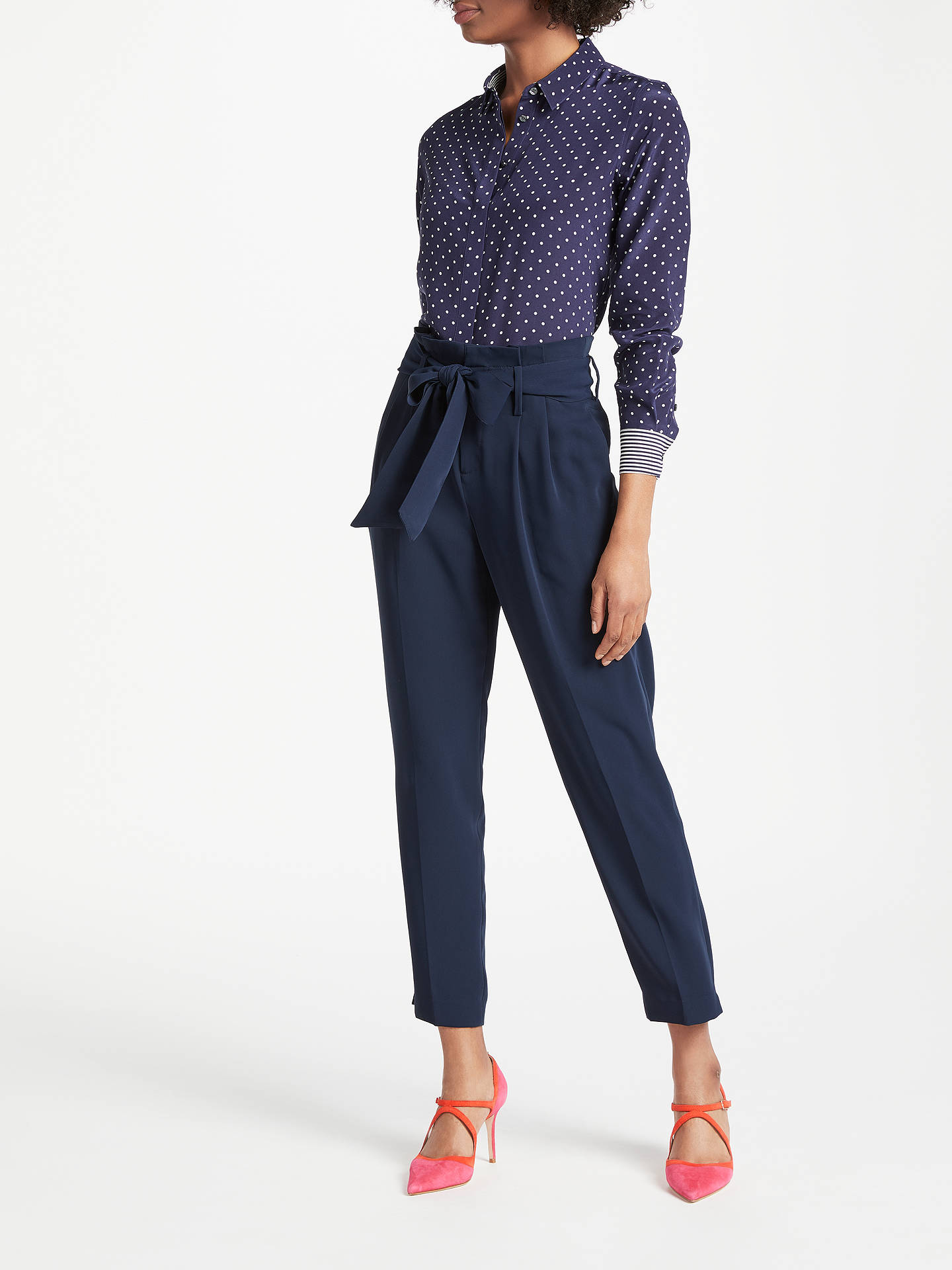 BuyBoden Melina Paperbag Trousers, Navy, 8 Online at johnlewis.com