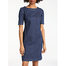 Buy Boden Rhea Denim Spot Dress, Indigo Denim Online at johnlewis.com