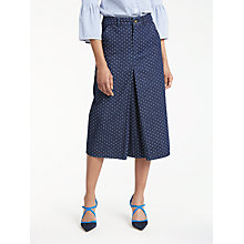 Buy Boden Mira Denim Skirt, Indigo Denim/Spot Online at johnlewis.com