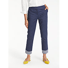 Buy Boden Richmond 7/8 Trousers, Navy/Spot Online at johnlewis.com